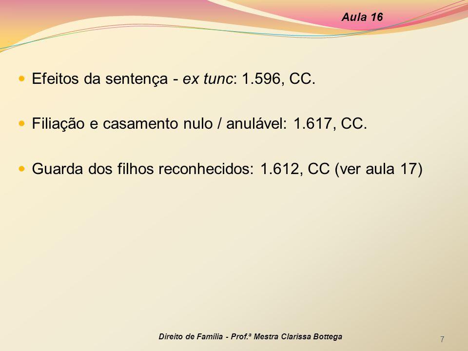 Efeitos da sentença - ex tunc: 1.596, CC.