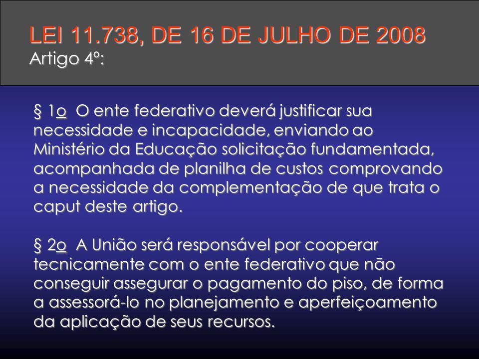 LEI 11.738, DE 16 DE JULHO DE 2008 Artigo 4º: