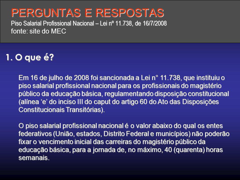 PERGUNTAS E RESPOSTAS Piso Salarial Profissional Nacional – Lei nº 11