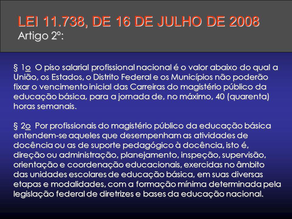 LEI 11.738, DE 16 DE JULHO DE 2008 Artigo 2º: