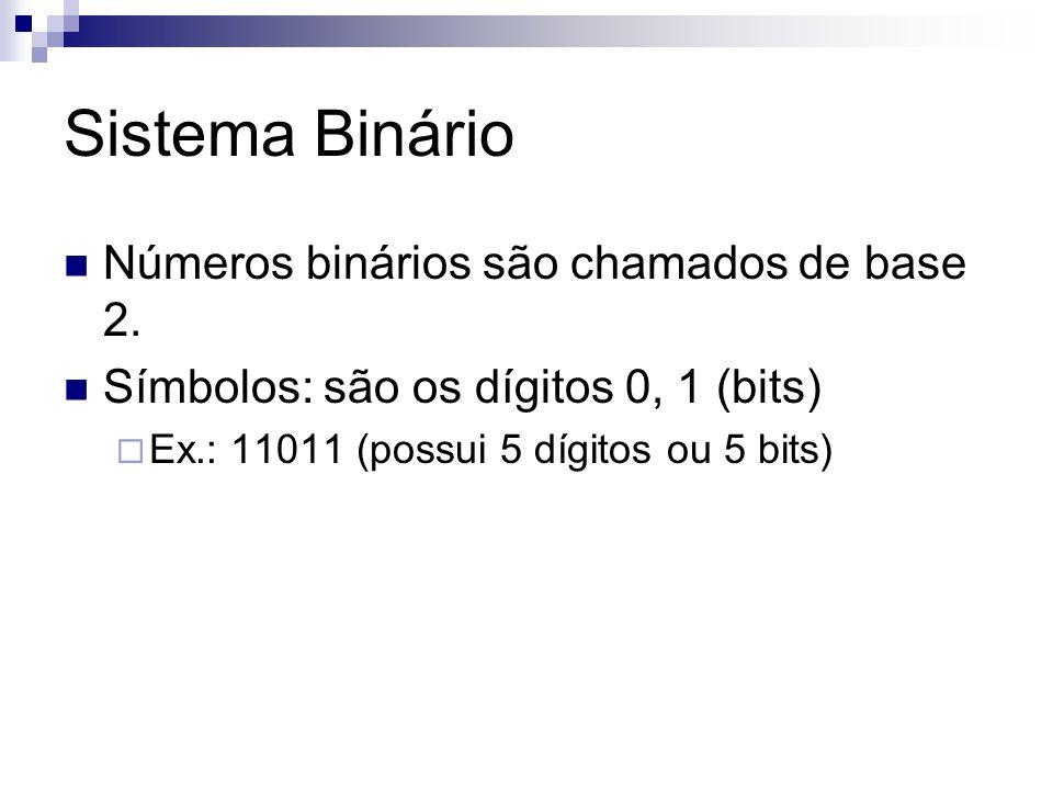 Sistema Binário Números binários são chamados de base 2.