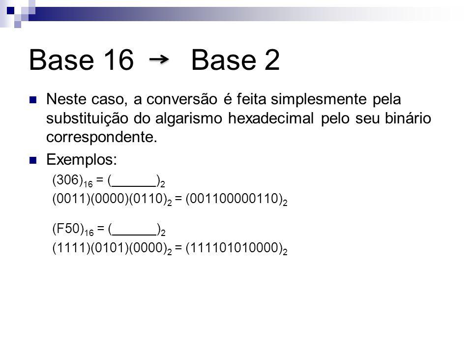 Base 16 Base 2 Neste caso, a conversão é feita simplesmente pela substituição do algarismo hexadecimal pelo seu binário correspondente.