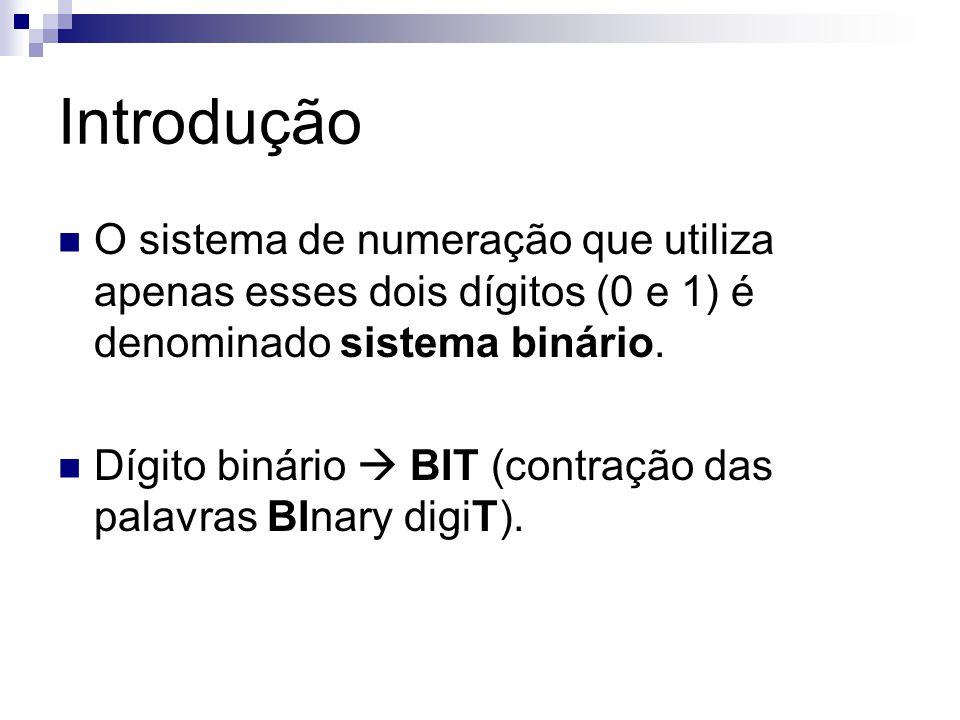 Introdução O sistema de numeração que utiliza apenas esses dois dígitos (0 e 1) é denominado sistema binário.