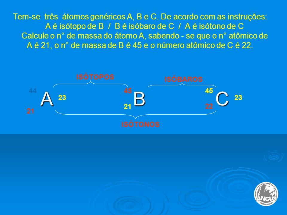 Tem-se três átomos genéricos A, B e C