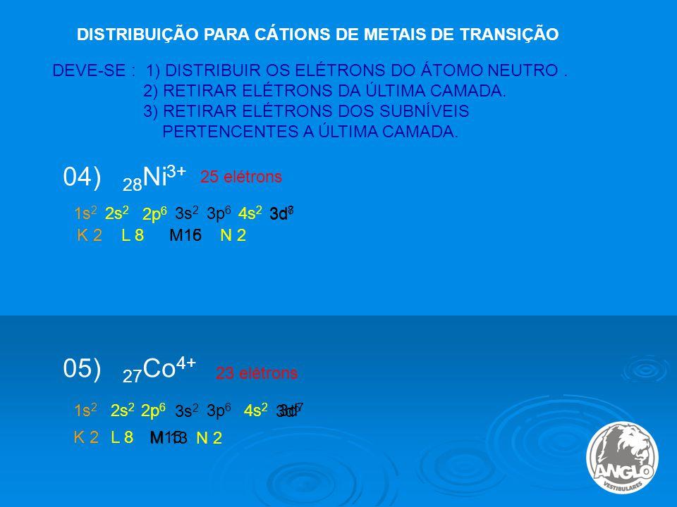 04) 28Ni3+ 05) 27Co4+ DISTRIBUIÇÃO PARA CÁTIONS DE METAIS DE TRANSIÇÃO