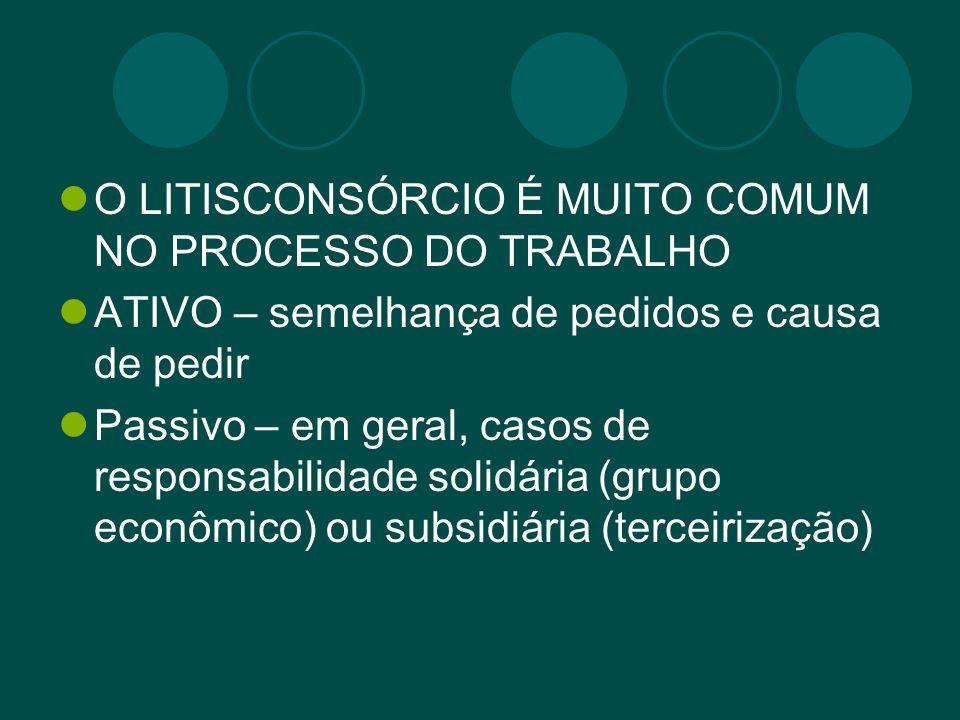 O LITISCONSÓRCIO É MUITO COMUM NO PROCESSO DO TRABALHO