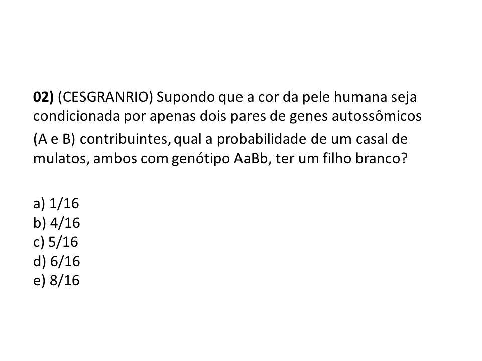 02) (CESGRANRIO) Supondo que a cor da pele humana seja condicionada por apenas dois pares de genes autossômicos (A e B) contribuintes, qual a probabilidade de um casal de mulatos, ambos com genótipo AaBb, ter um filho branco.