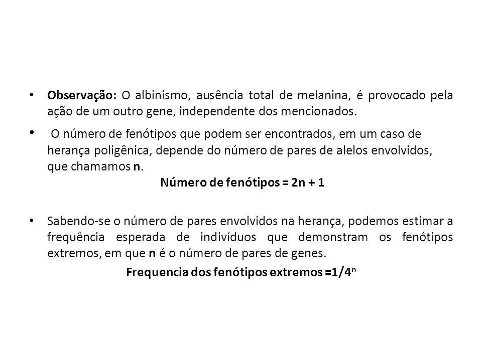 Número de fenótipos = 2n + 1 Frequencia dos fenótipos extremos =1/4n