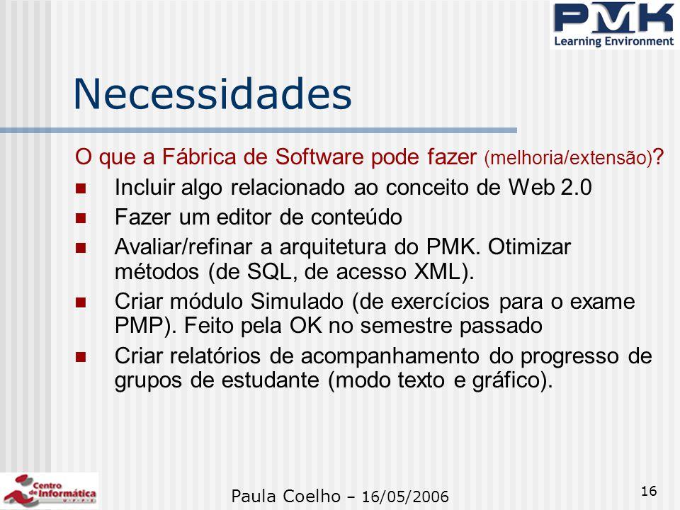 Necessidades O que a Fábrica de Software pode fazer (melhoria/extensão) Incluir algo relacionado ao conceito de Web 2.0.