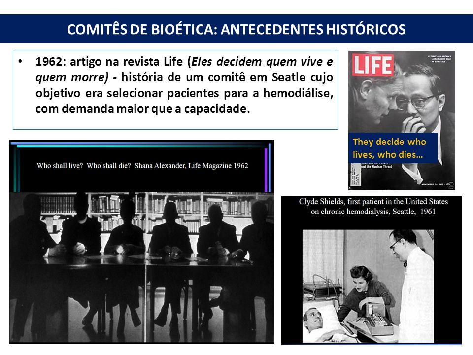 COMITÊS DE BIOÉTICA: ANTECEDENTES HISTÓRICOS