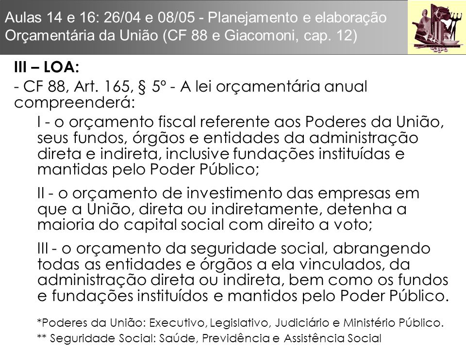 - CF 88, Art. 165, § 5º - A lei orçamentária anual compreenderá: