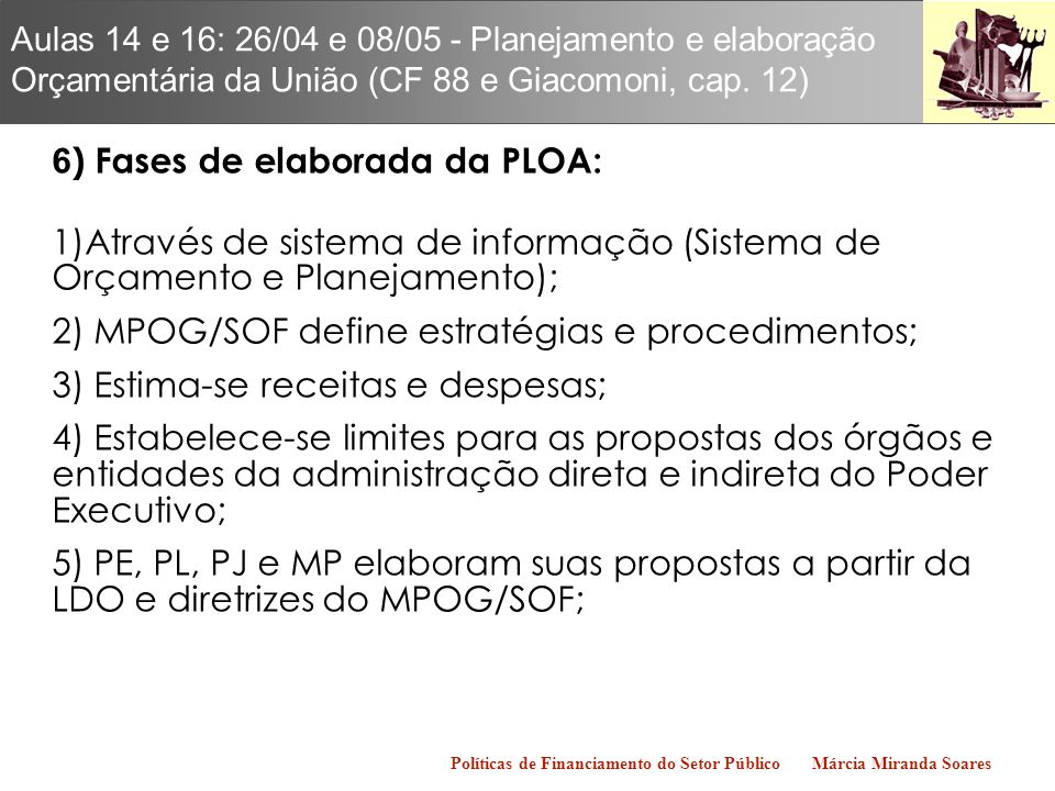 6) Fases de elaborada da PLOA:
