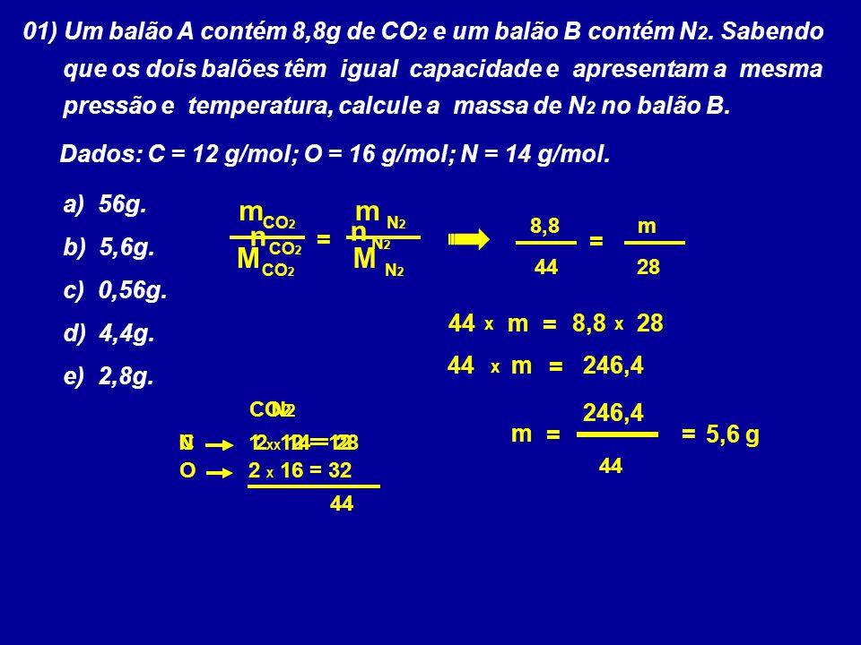 01) Um balão A contém 8,8g de CO2 e um balão B contém N2. Sabendo