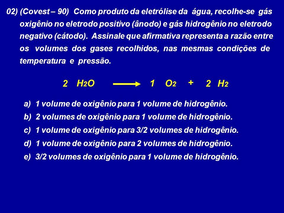 02) (Covest – 90) Como produto da eletrólise da água, recolhe-se gás