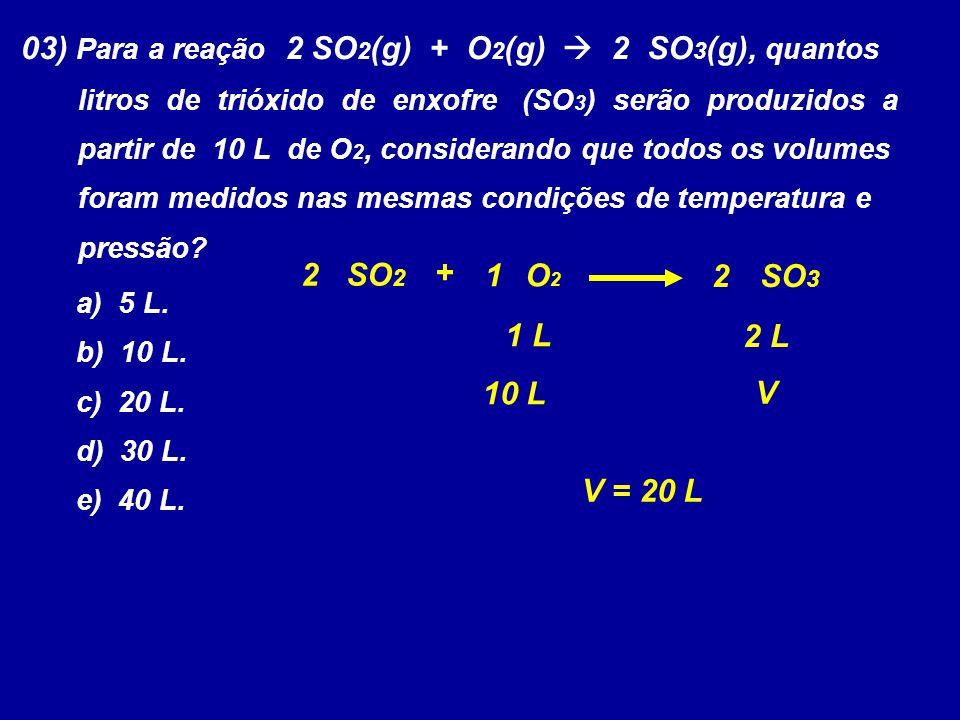 03) Para a reação 2 SO2(g) + O2(g)  2 SO3(g), quantos