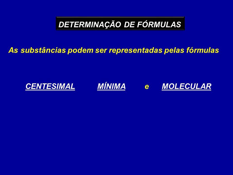 As substâncias podem ser representadas pelas fórmulas