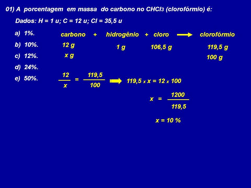 01) A porcentagem em massa do carbono no CHCl3 (clorofórmio) é: