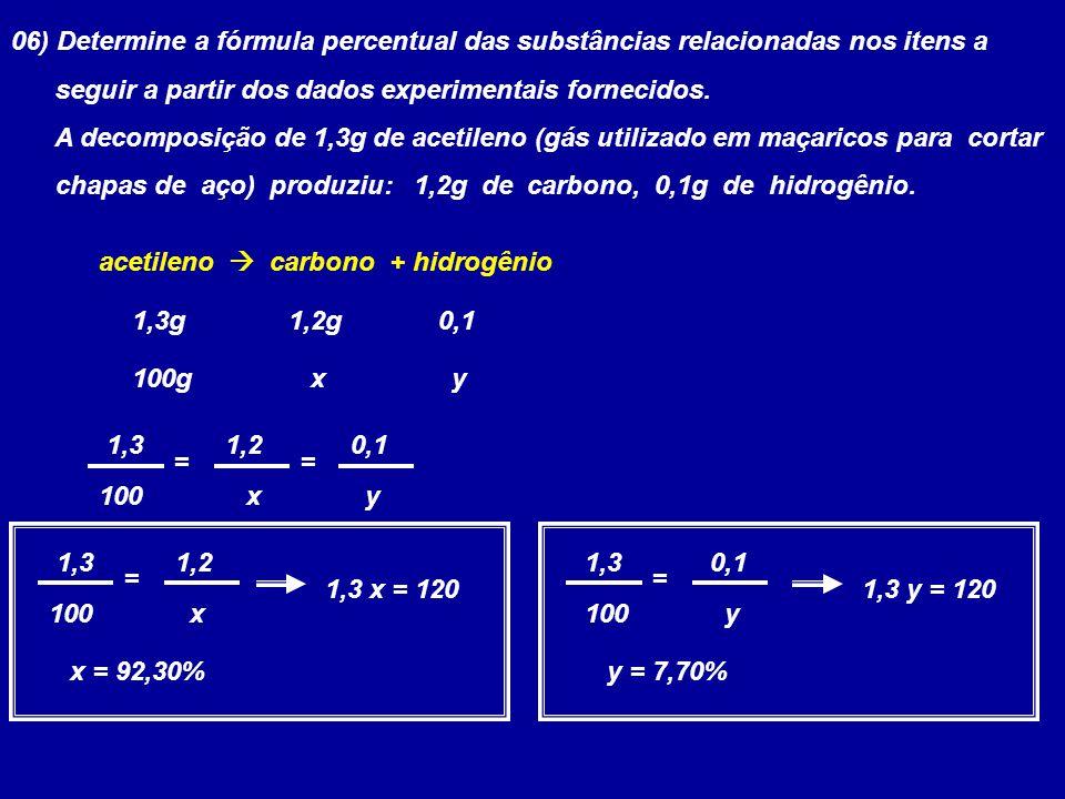 06) Determine a fórmula percentual das substâncias relacionadas nos itens a