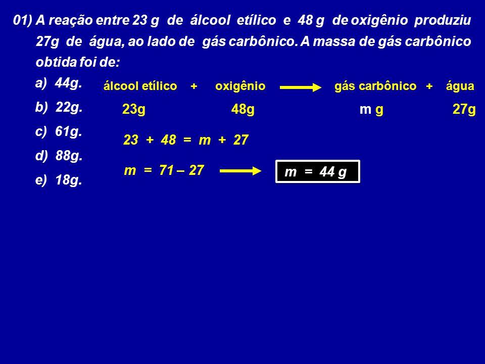 01) A reação entre 23 g de álcool etílico e 48 g de oxigênio produziu