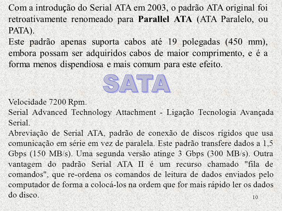 Com a introdução do Serial ATA em 2003, o padrão ATA original foi retroativamente renomeado para Parallel ATA (ATA Paralelo, ou PATA).