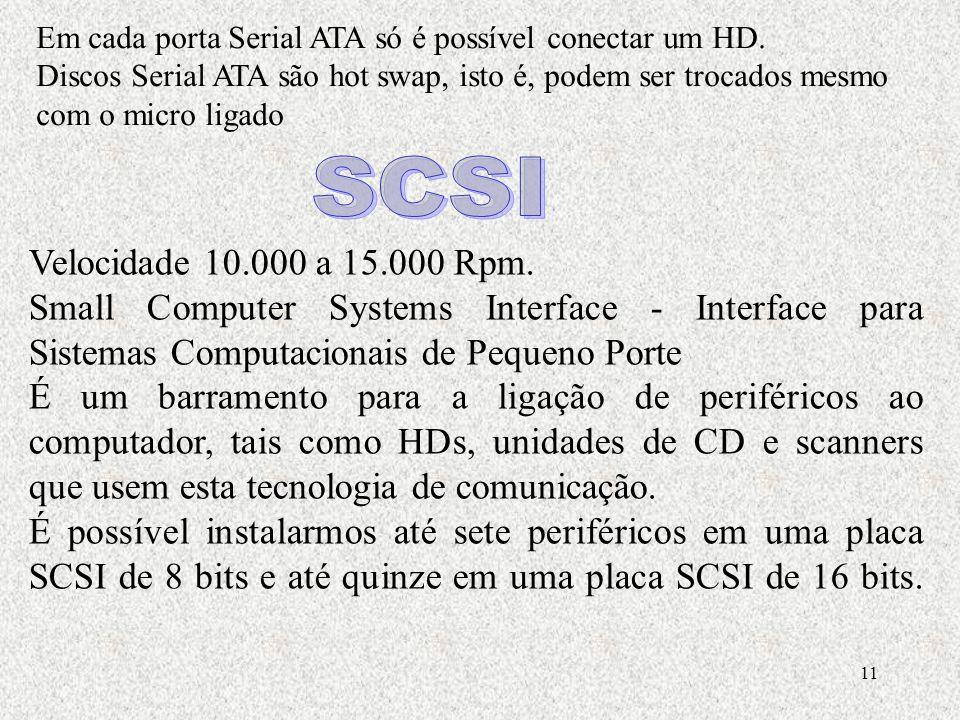 Em cada porta Serial ATA só é possível conectar um HD