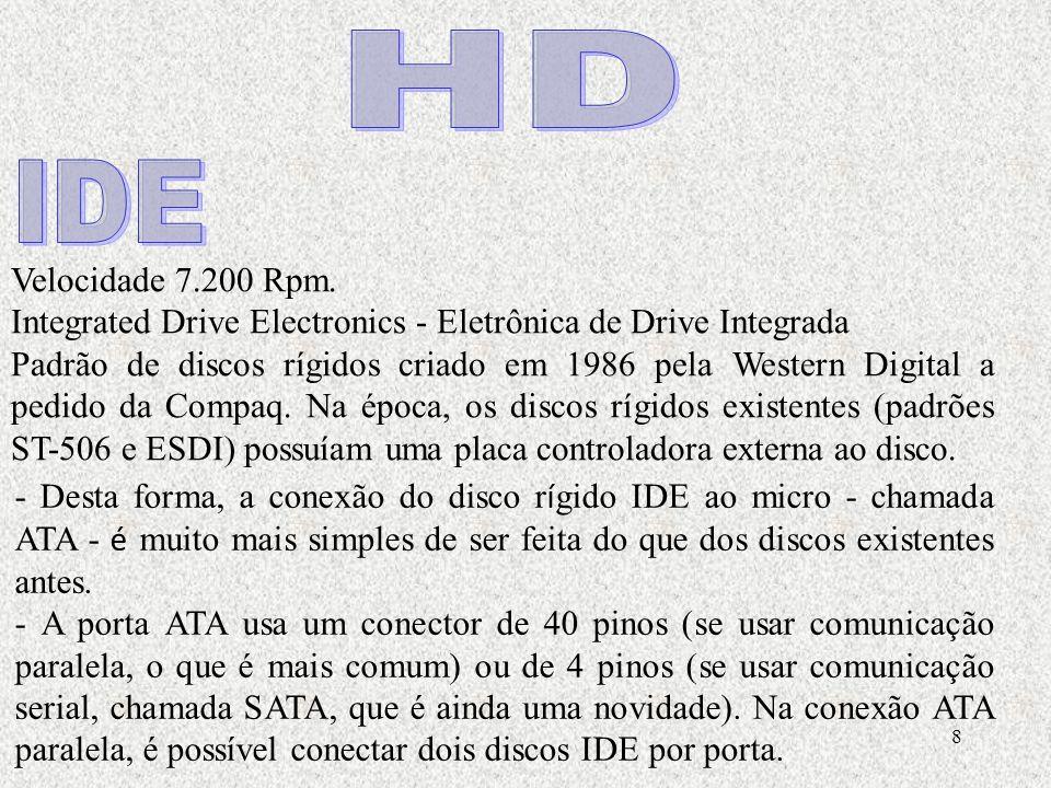 HD IDE. Velocidade 7.200 Rpm. Integrated Drive Electronics - Eletrônica de Drive Integrada.