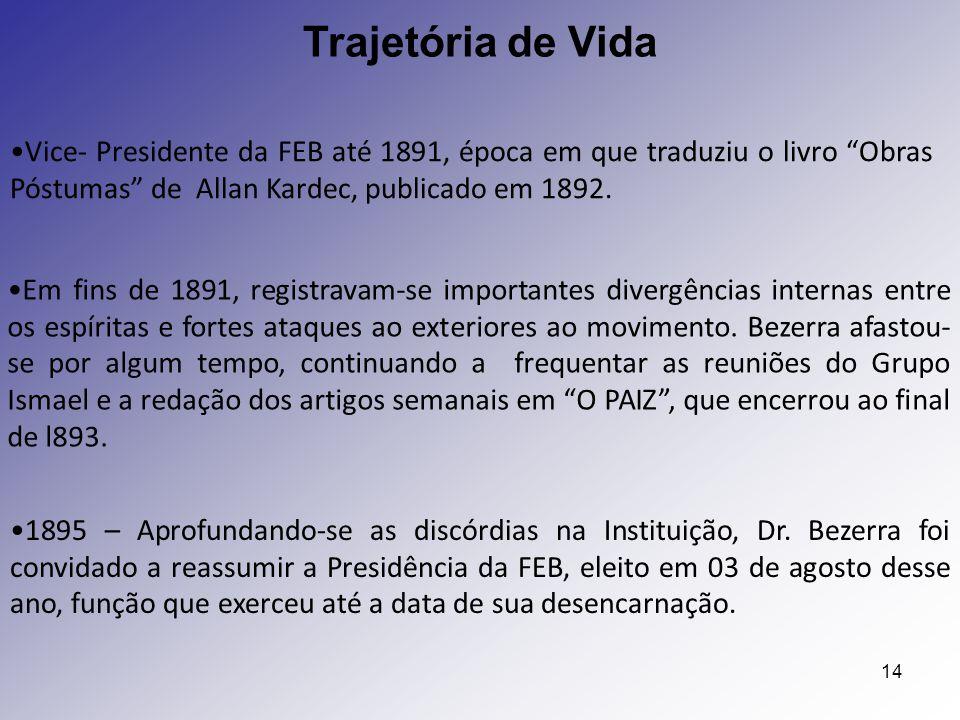 Trajetória de Vida Vice- Presidente da FEB até 1891, época em que traduziu o livro Obras Póstumas de Allan Kardec, publicado em 1892.