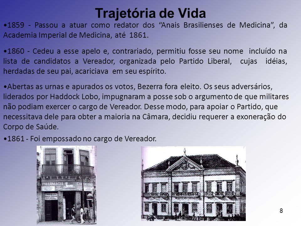 Trajetória de Vida 1859 - Passou a atuar como redator dos Anais Brasilienses de Medicina , da Academia Imperial de Medicina, até 1861.