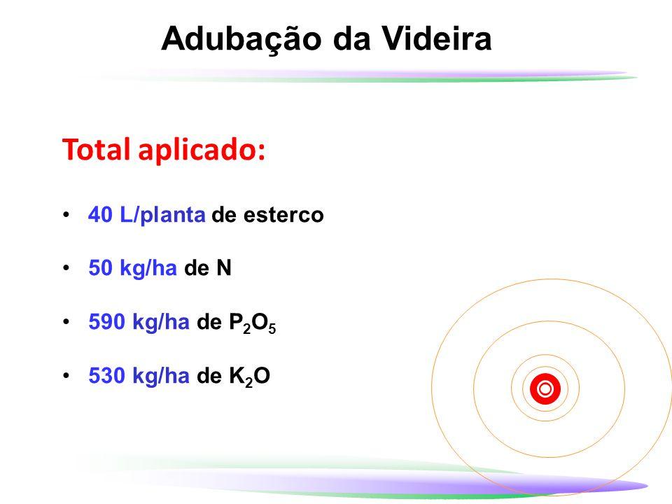 Adubação da Videira Total aplicado: 40 L/planta de esterco