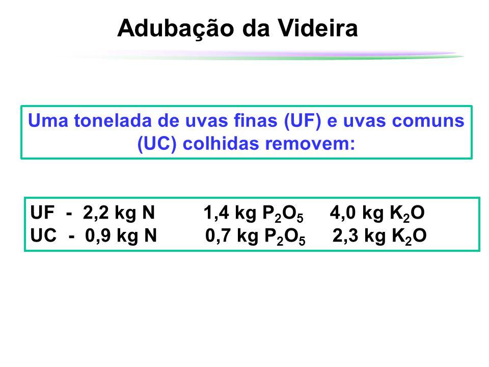 Uma tonelada de uvas finas (UF) e uvas comuns (UC) colhidas removem: