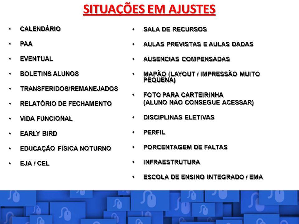 SITUAÇÕES EM AJUSTES NPE SALA DE RECURSOS CALENDÁRIO