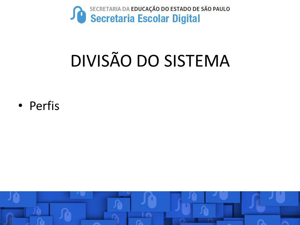 DIVISÃO DO SISTEMA Perfis