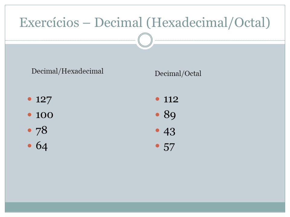Exercícios – Decimal (Hexadecimal/Octal)