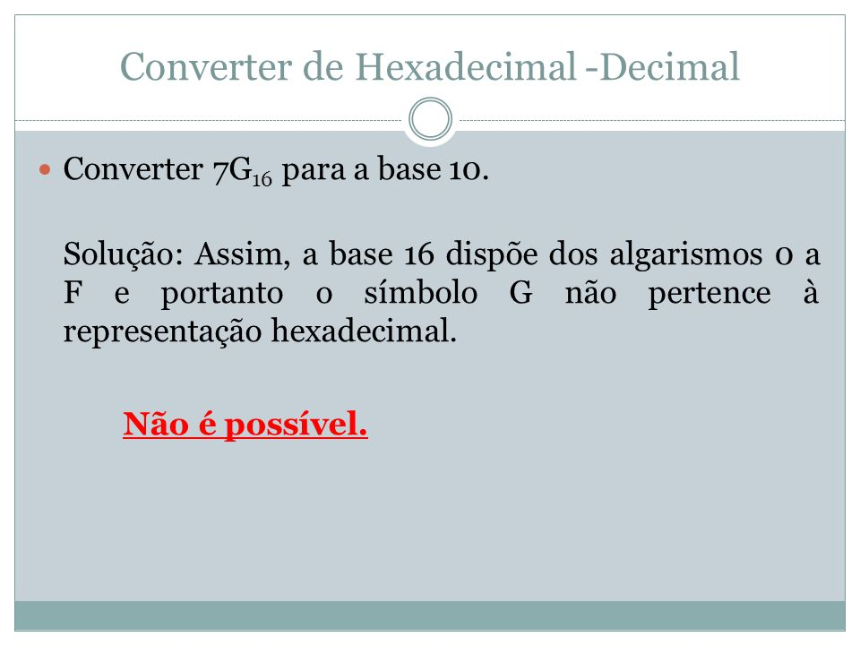 Converter de Hexadecimal -Decimal