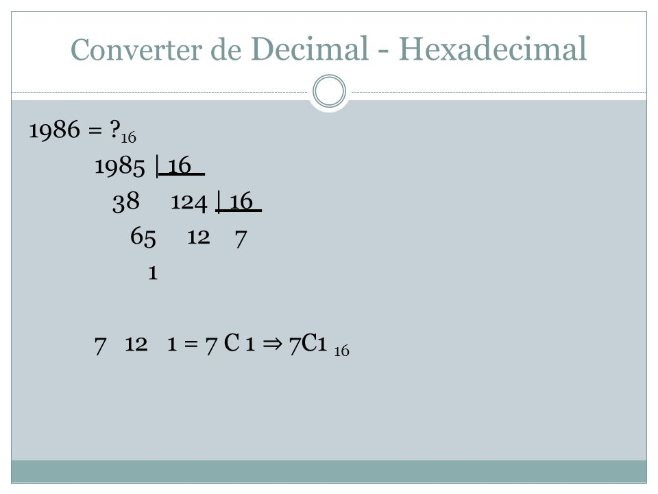 Converter de Decimal - Hexadecimal