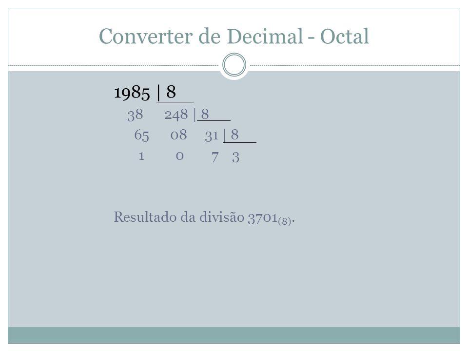 Converter de Decimal - Octal