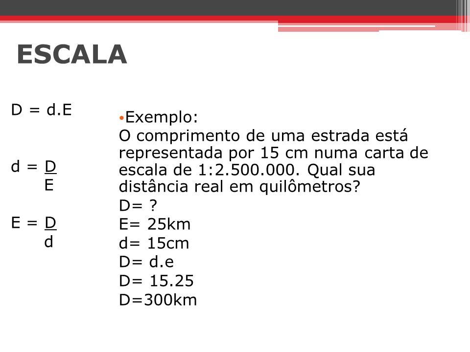 ESCALA D = d.E. d = D. E. E = D. d. Exemplo: