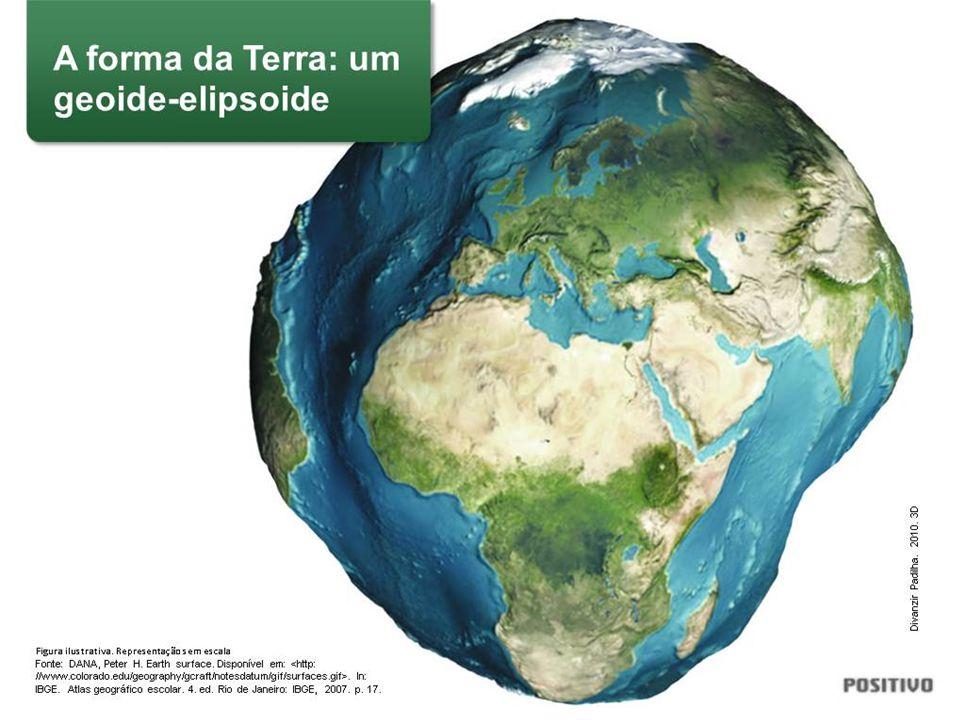 Iniciar a discussão falando sobre o senso comum de que a forma da Terra é redonda. Na verdade, a versão mais aceita cientificamente é a de que o seu formato é um geoide-elipsoide, ou seja, uma elipse achatada nos