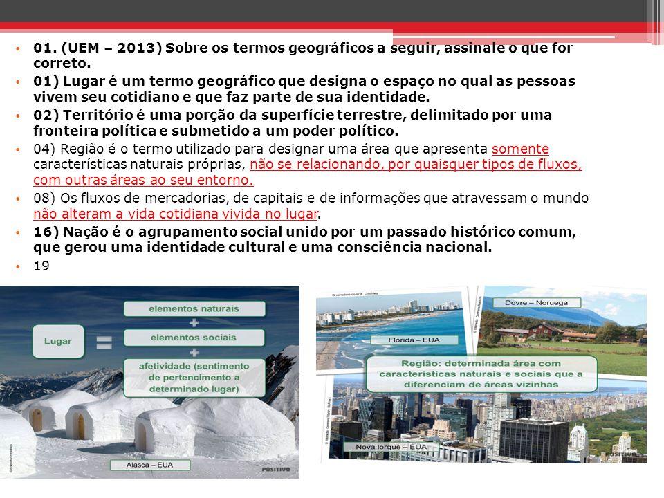 01. (UEM – 2013) Sobre os termos geográficos a seguir, assinale o que for correto.