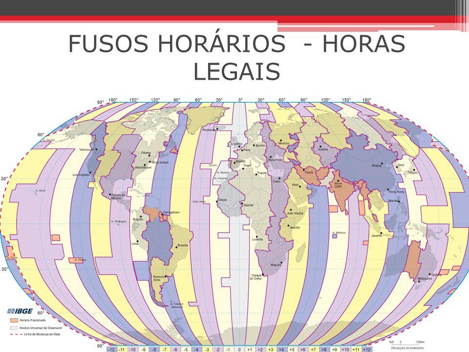 FUSOS HORÁRIOS - HORAS LEGAIS