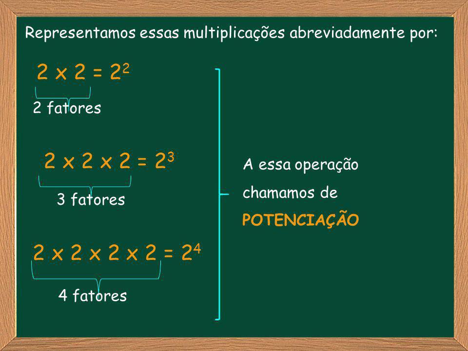 Representamos essas multiplicações abreviadamente por: