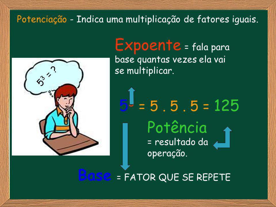 Expoente = fala para base quantas vezes ela vai se multiplicar.