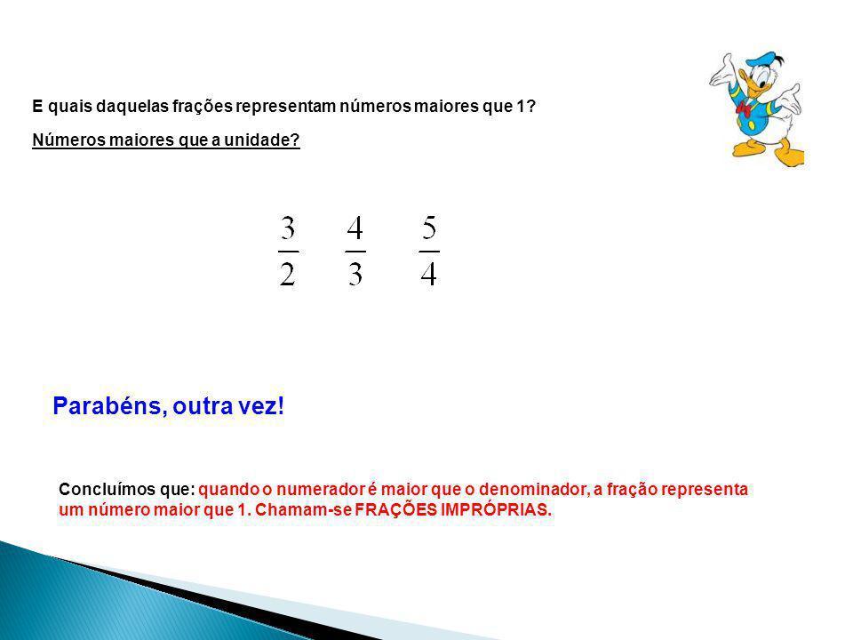 E quais daquelas frações representam números maiores que 1