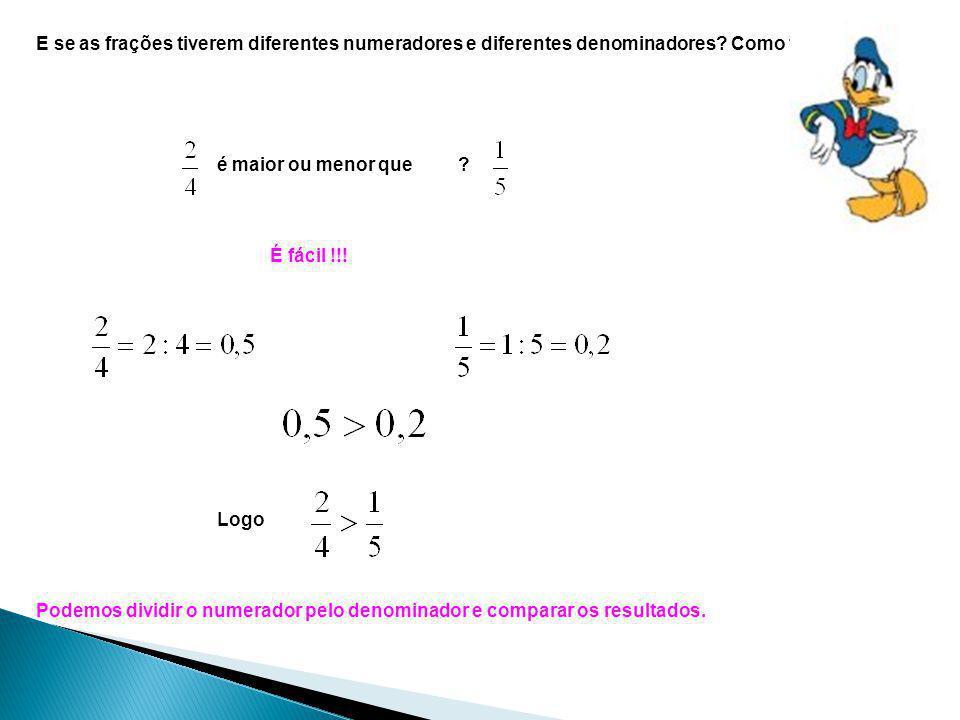 E se as frações tiverem diferentes numeradores e diferentes denominadores Como fazer