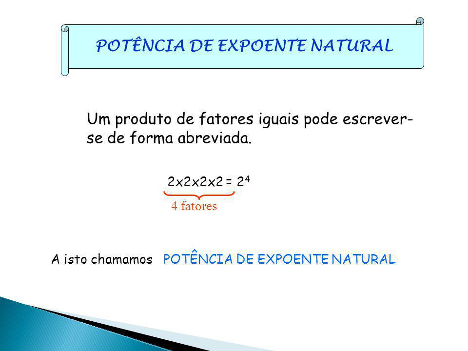 POTÊNCIA DE EXPOENTE NATURAL