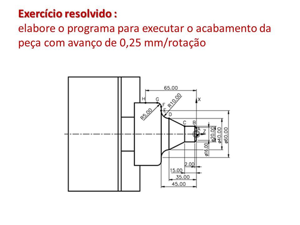 Exercício resolvido : elabore o programa para executar o acabamento da peça com avanço de 0,25 mm/rotação
