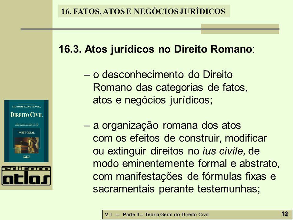 16.3. Atos jurídicos no Direito Romano: