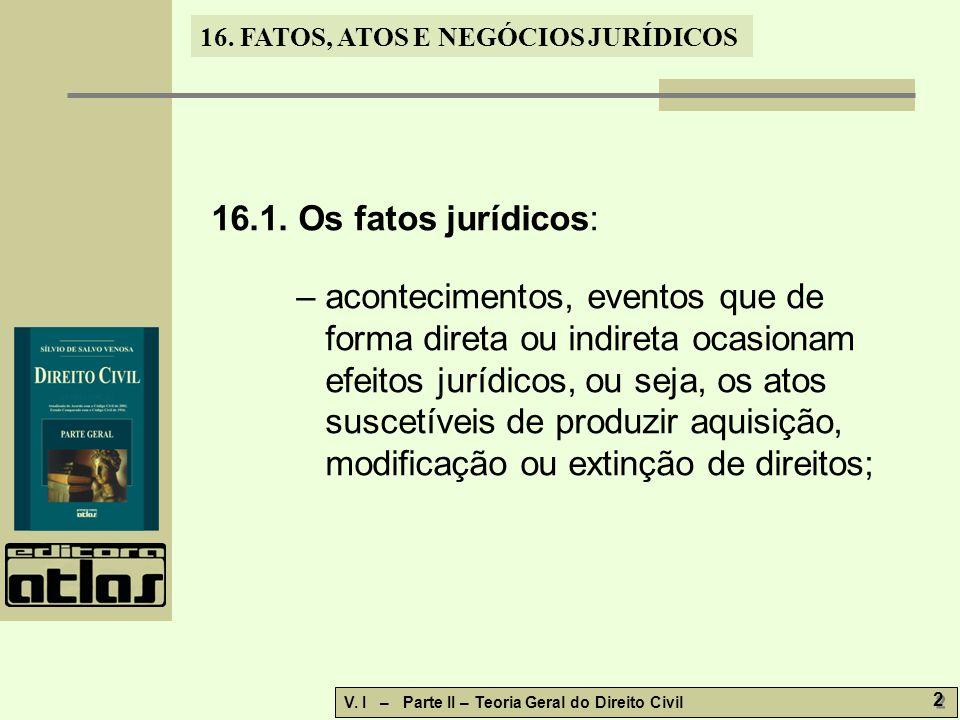 16.1. Os fatos jurídicos: