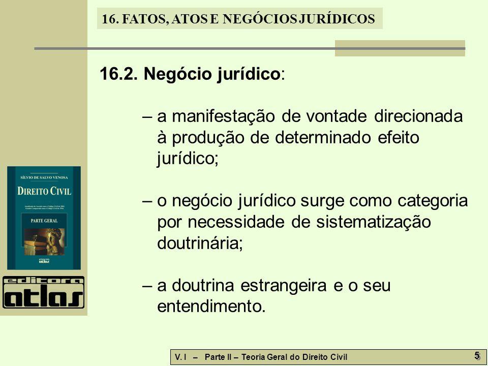 16.2. Negócio jurídico: – a manifestação de vontade direcionada à produção de determinado efeito jurídico;