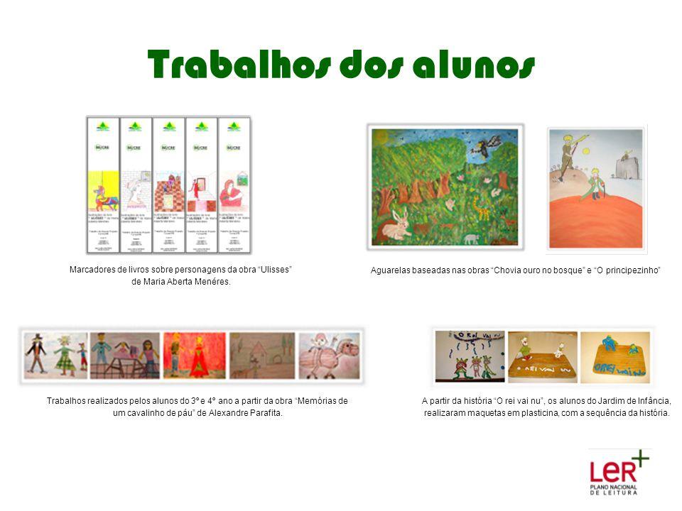 Trabalhos dos alunos Marcadores de livros sobre personagens da obra Ulisses de Maria Aberta Menéres.
